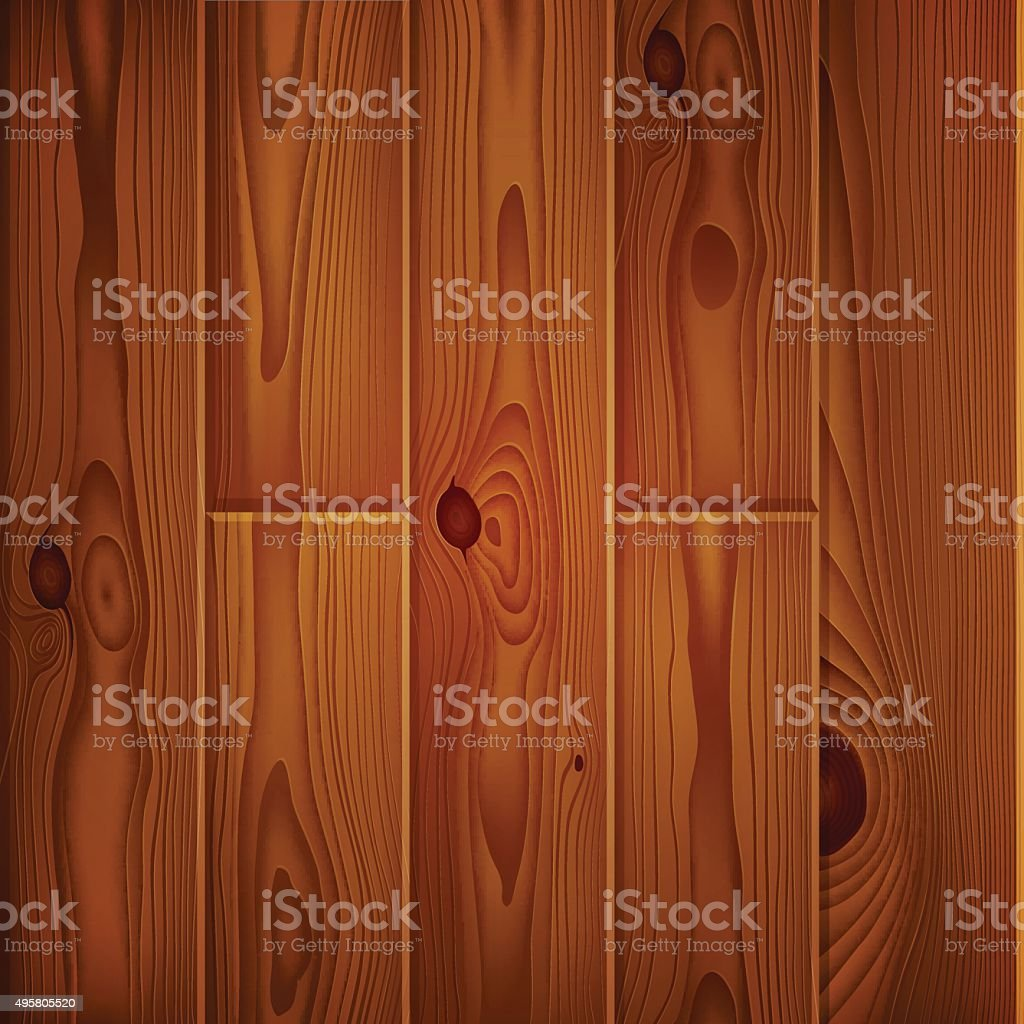 Realistic brown wood boards texture vector art illustration