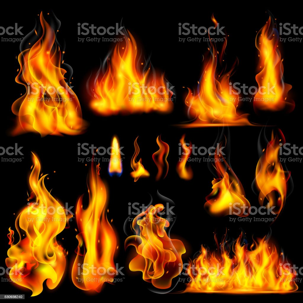 Realistic Burning Fire Flame vector art illustration