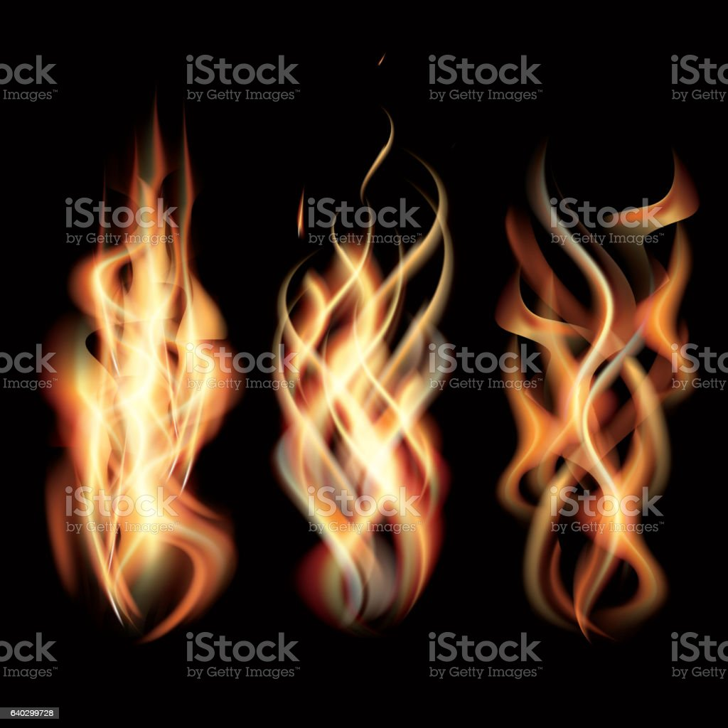 Realistic Burning Fire Flames Set. vector art illustration