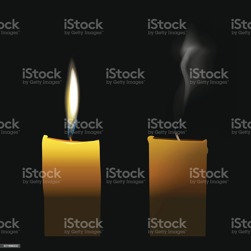 Realistic candle flaming and extinct wick with transparent smoke vector art illustration