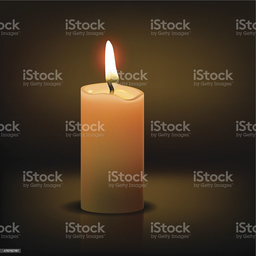 Realistic candle vector art illustration