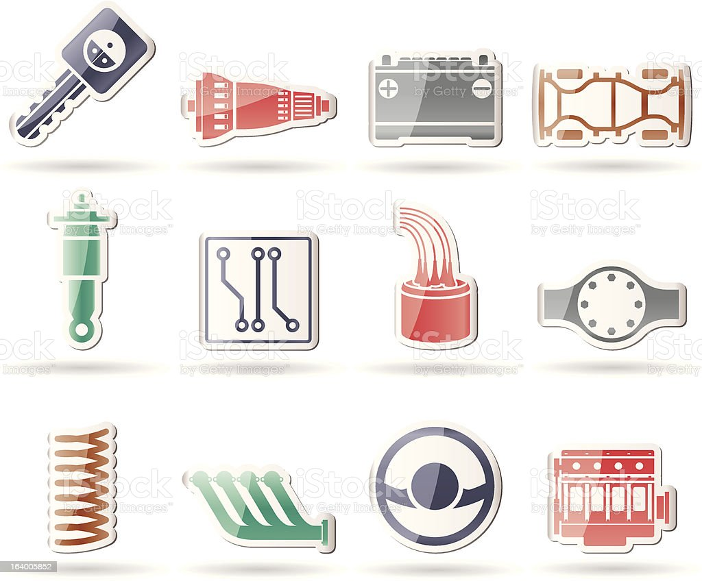 Realistic Car Parts and Services icons vector art illustration