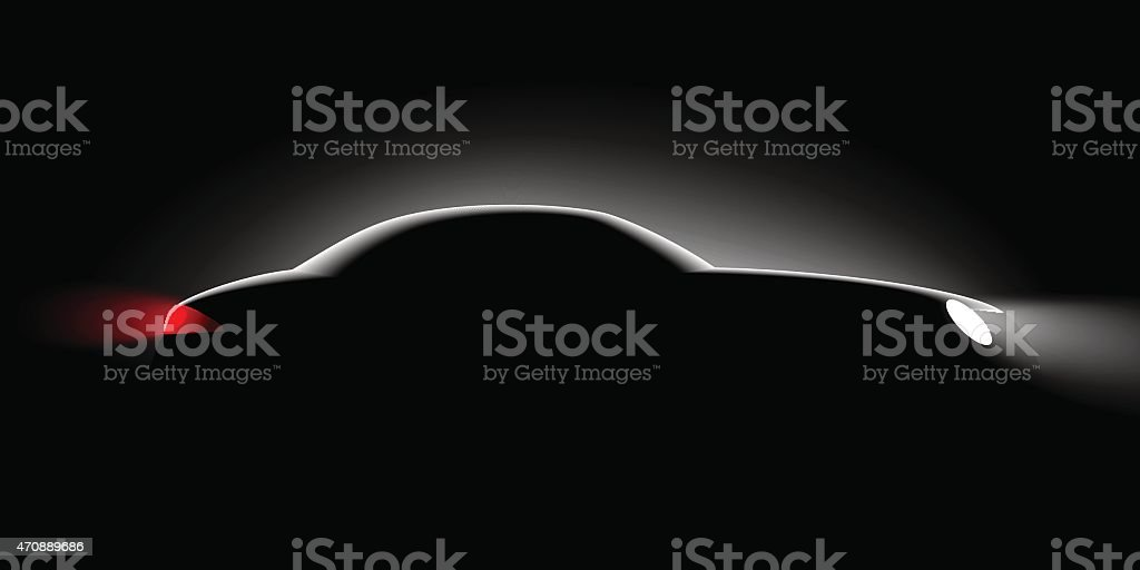 realistic car side view in the dark vector art illustration