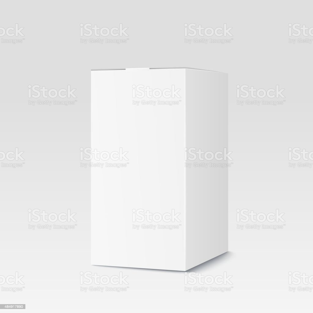 Realistic cardboard box on white background. White container, packaging vector art illustration