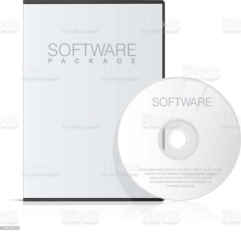 Realistic Case for DVD Or CD Disk vector art illustration