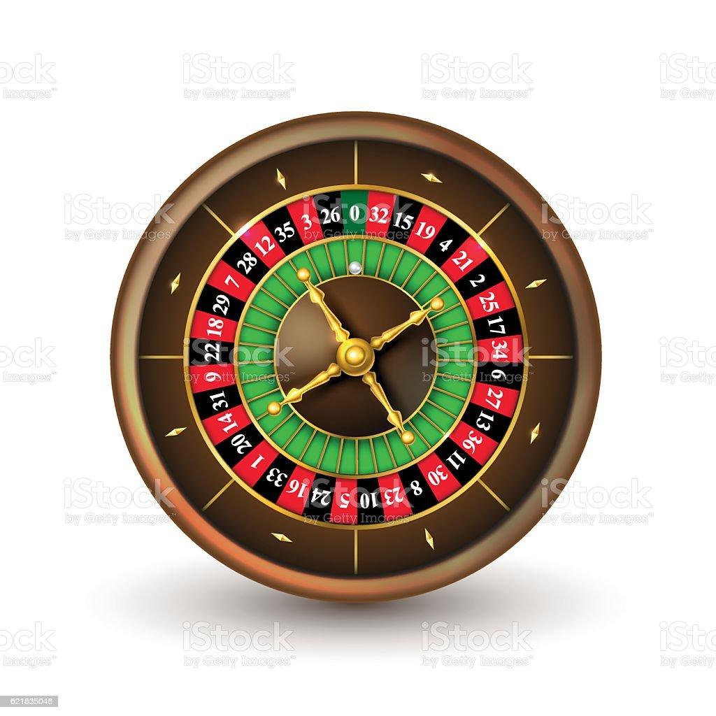 Realistic casino roulette wheel vector art illustration