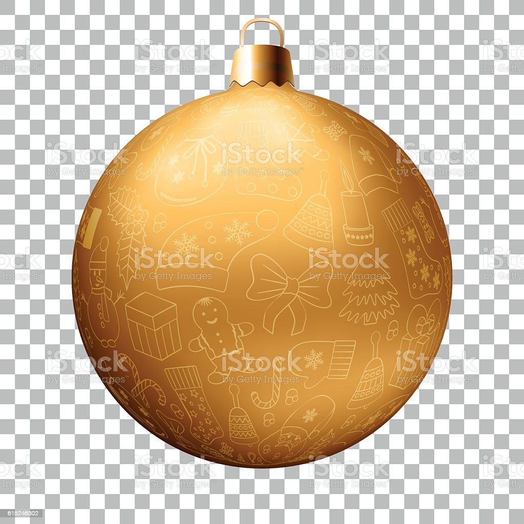Realistic Christmas golden ball vector art illustration