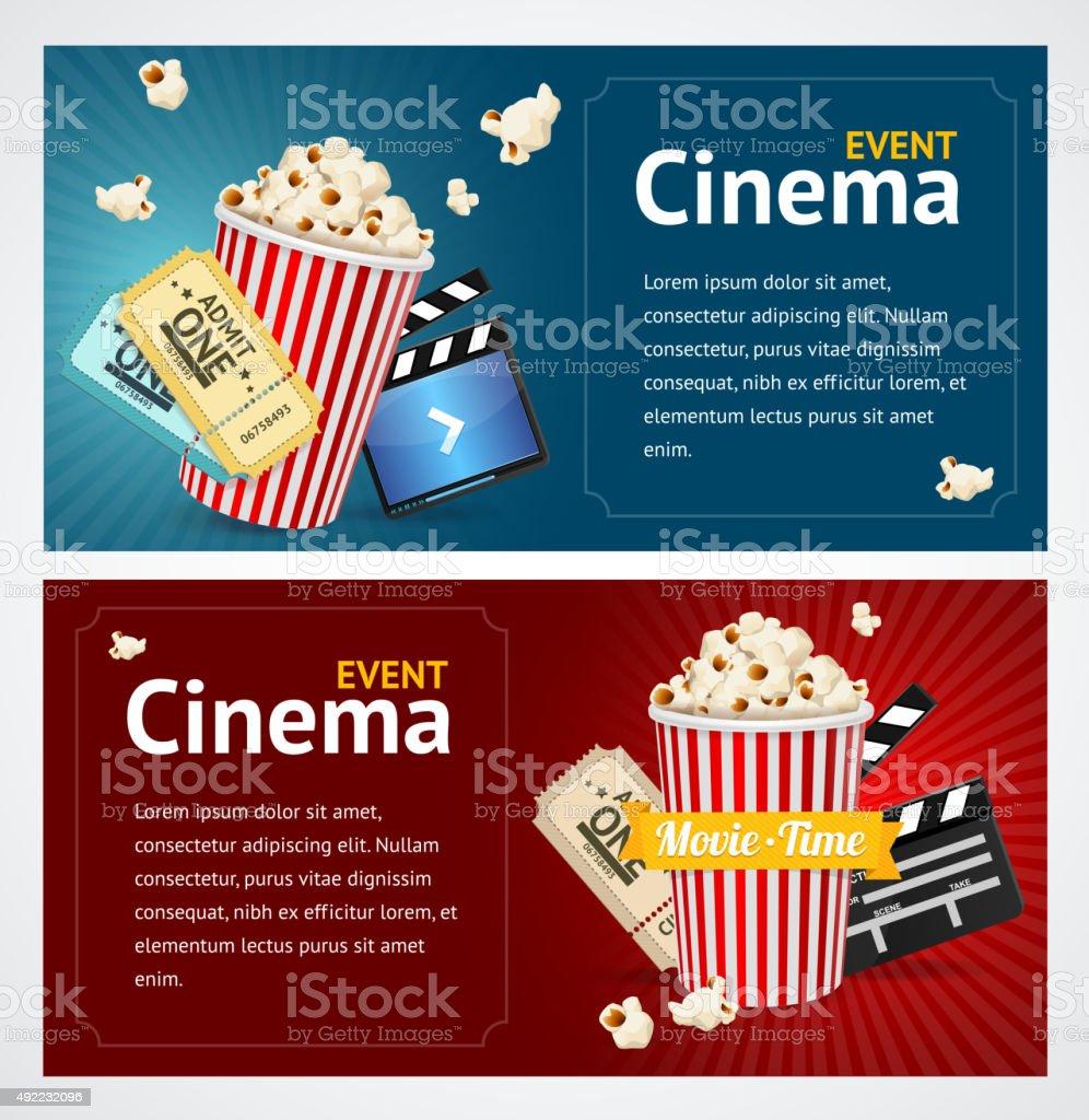 Realistic Cinema Movie Poster Template. Vector vector art illustration
