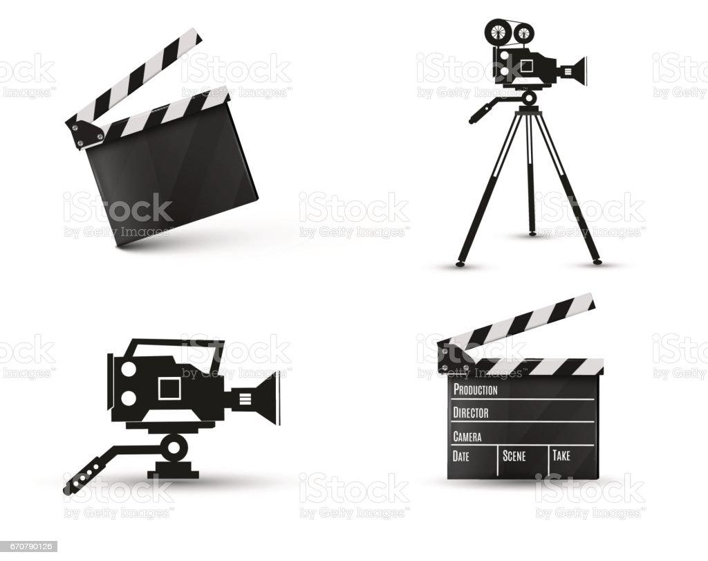 Realistic clapper.cinema.Board on a white background.film.time.vector illustration vector art illustration