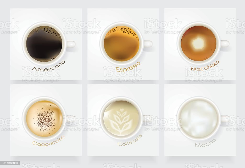 Realistic coffee vector icon set vector art illustration