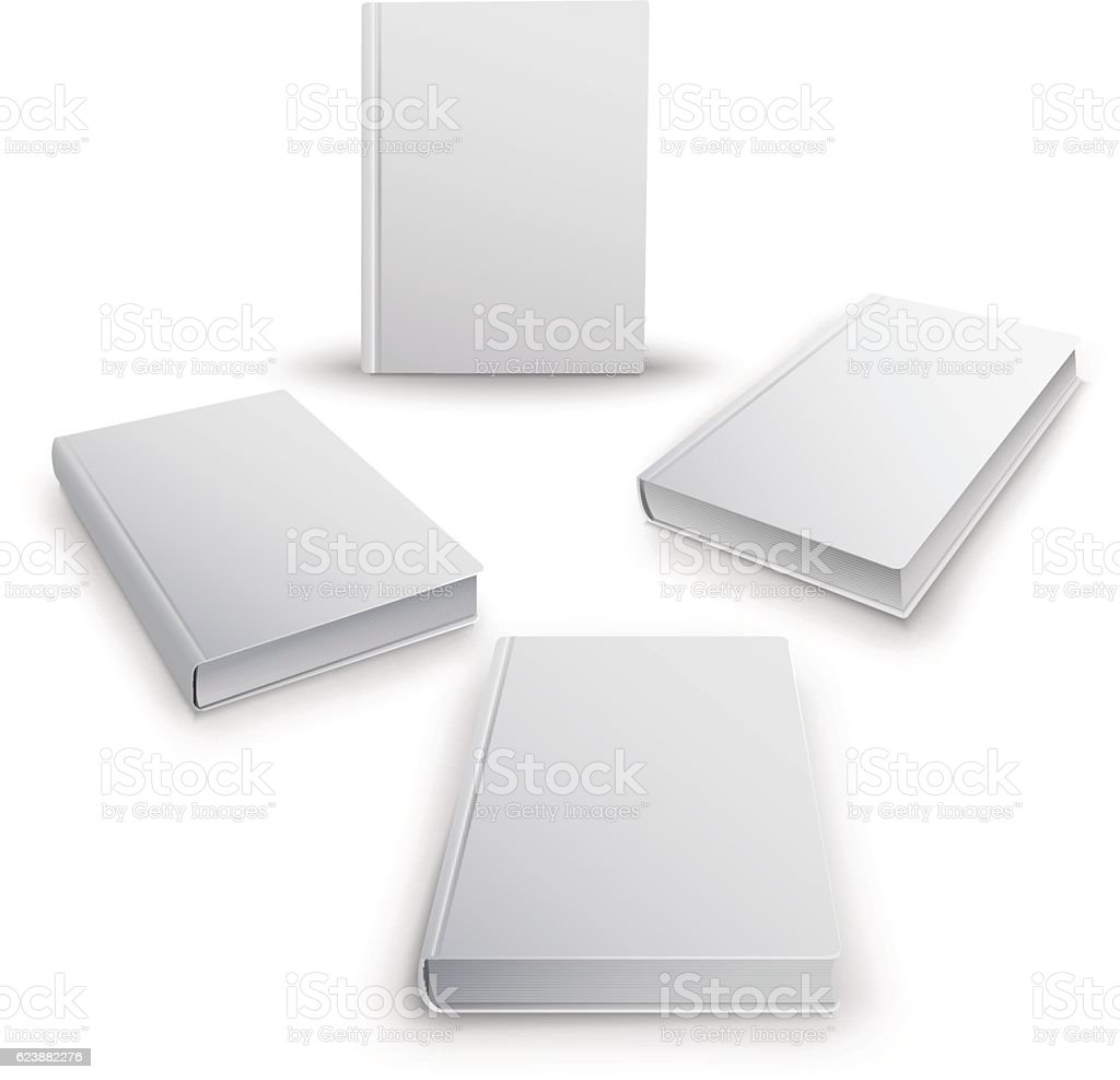 Realistic collection of 3d books with white cover. Mock Up vector art illustration