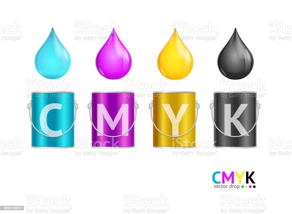 Realistic Color Metall Can Bucket and Drop Set. Vector vector art illustration