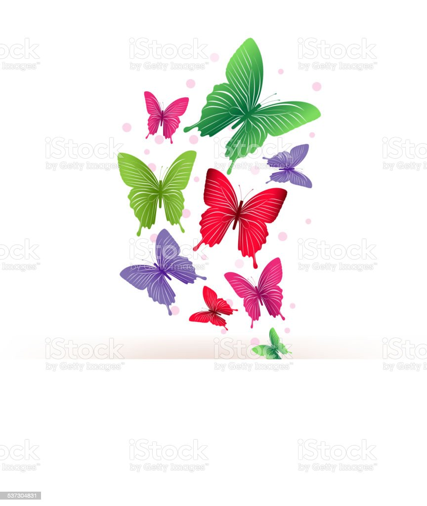 Realistic Colorful Butterflies Isolated for Spring vector art illustration