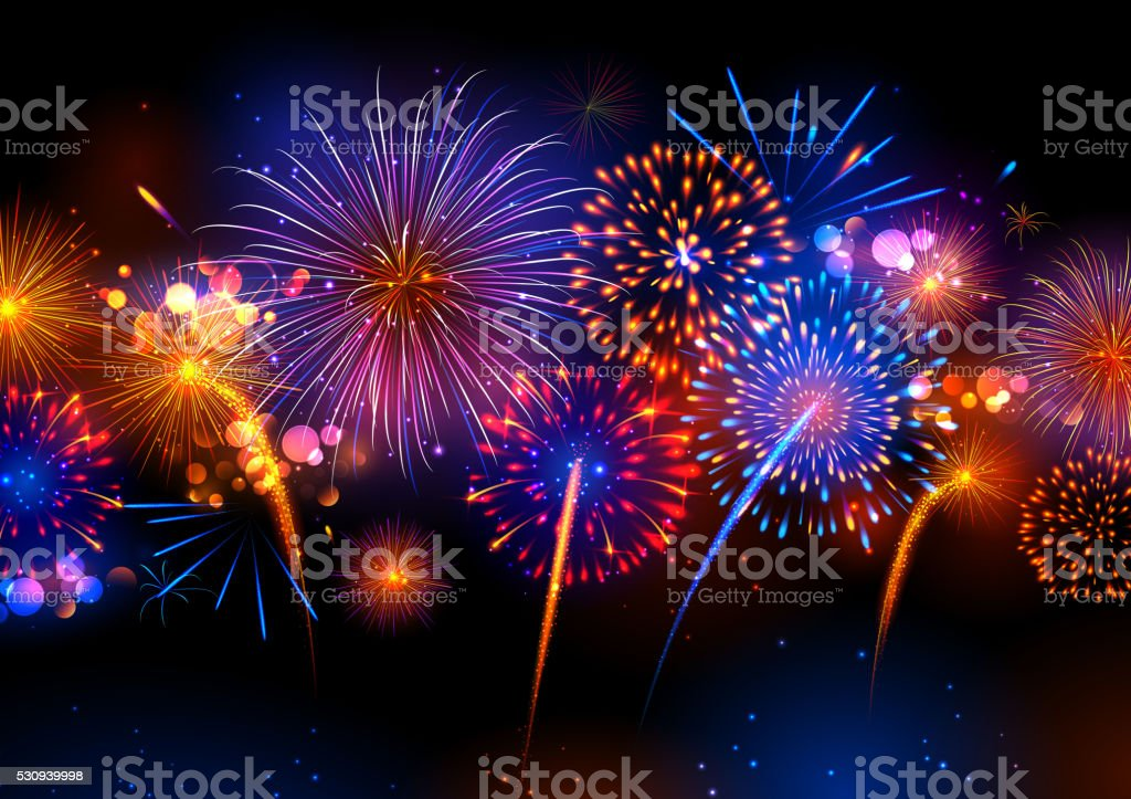 Realistic colorful Fireworks vector art illustration