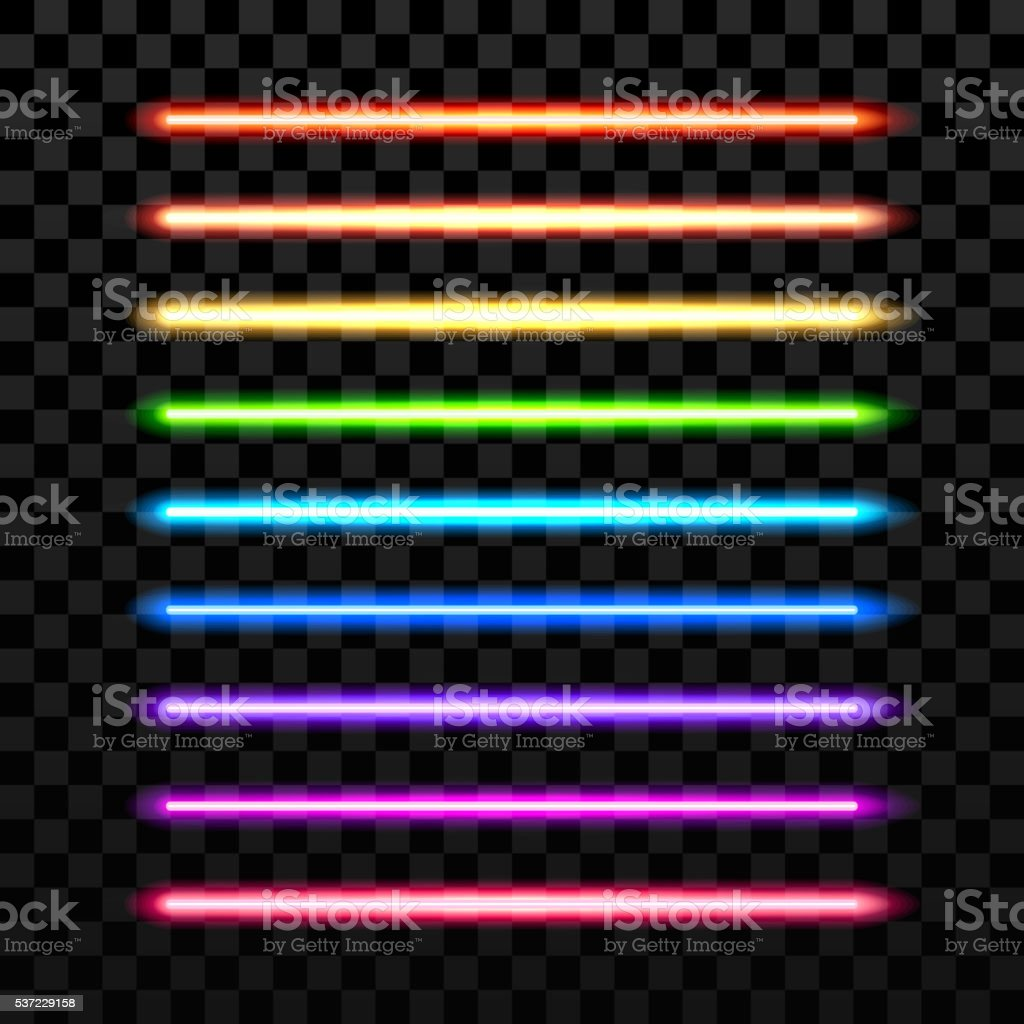 Realistic colorful laser vector beam on transparent dark background vector art illustration