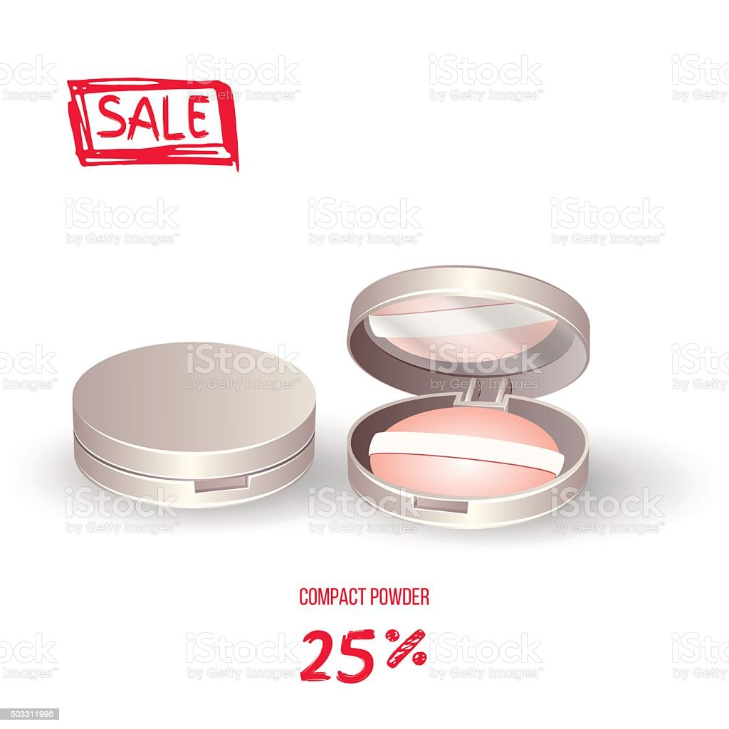 Realistic compact powder. Vector vector art illustration