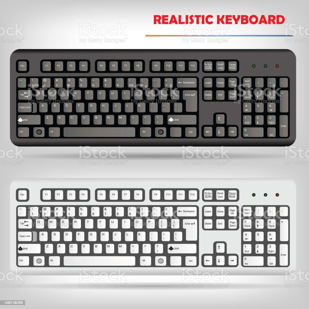 Realistic computer keyboard vector vector art illustration
