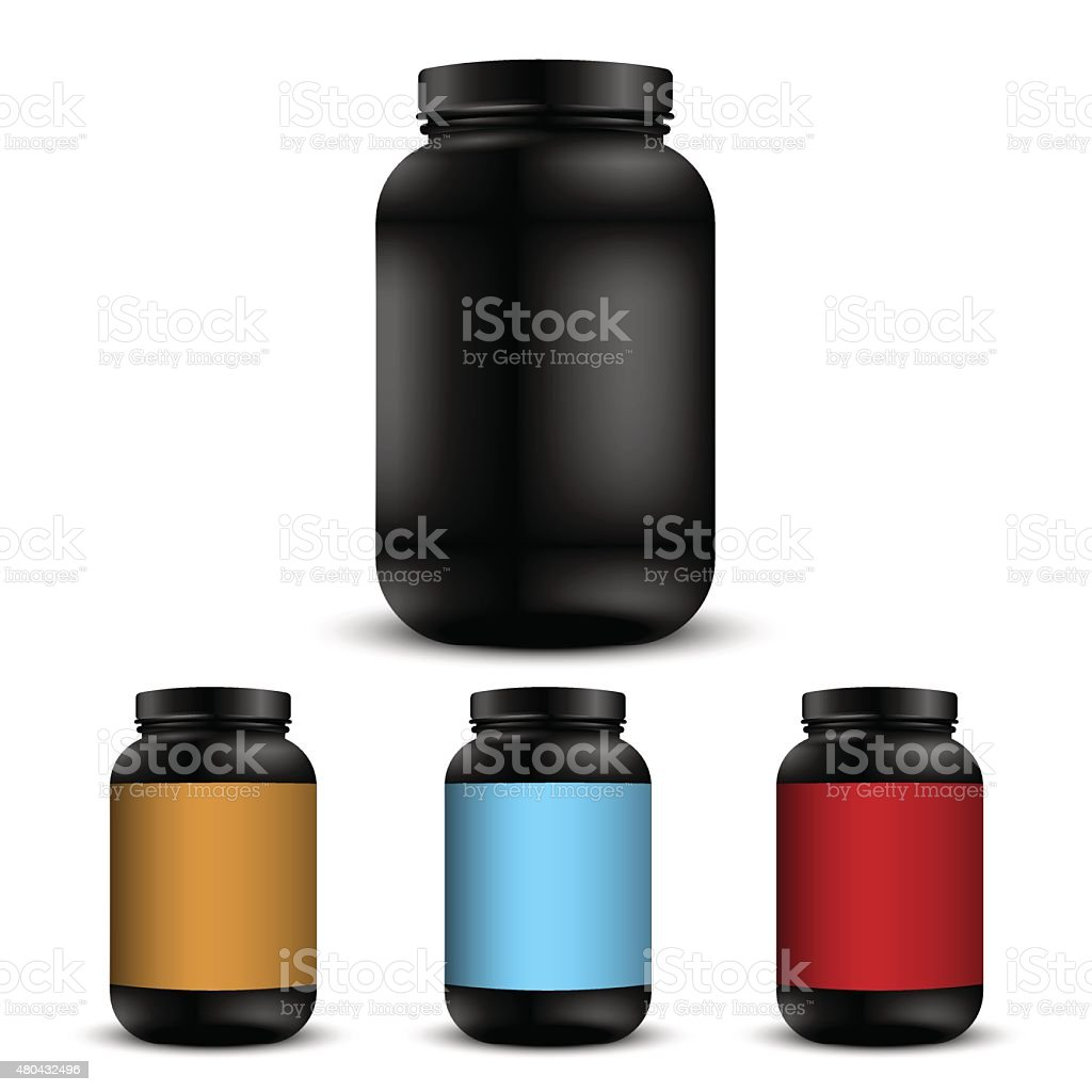Realistic containers for sports nutrition vector art illustration