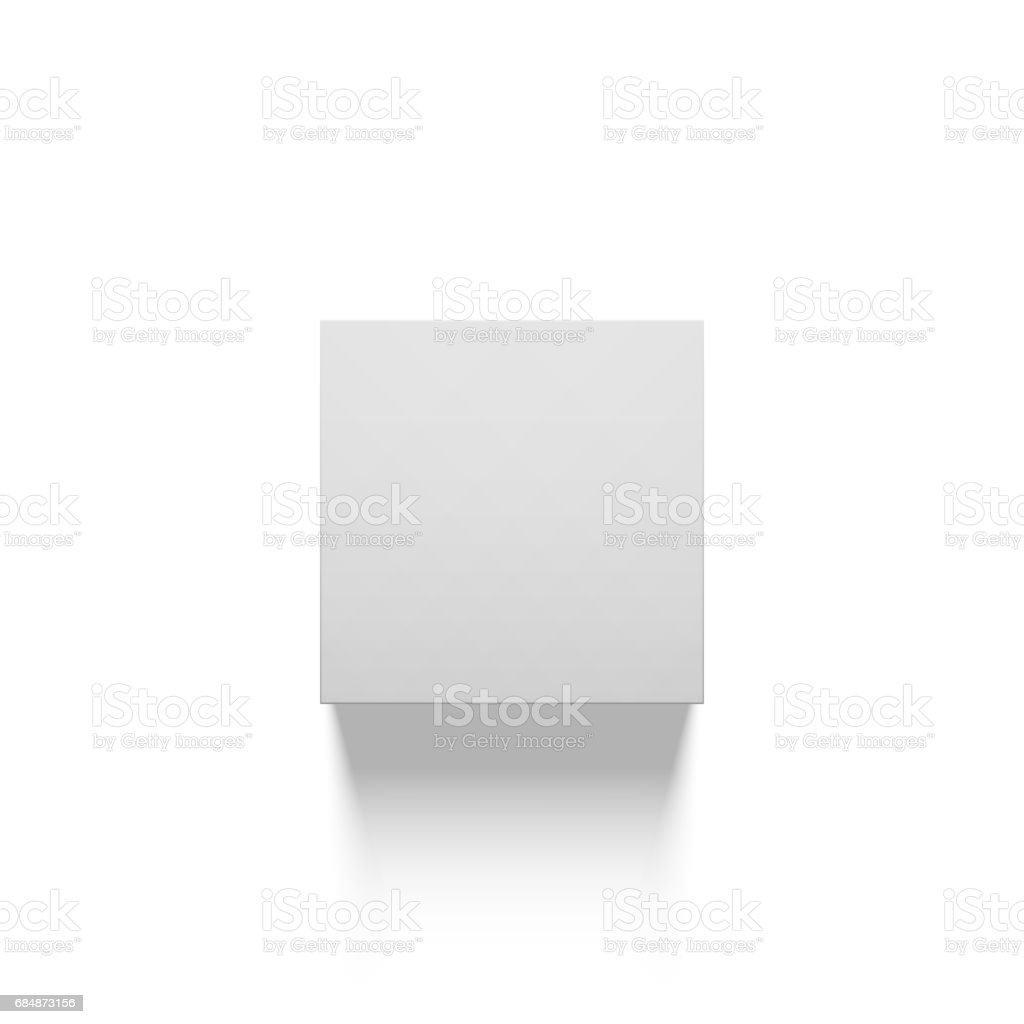 Realistic Cube Shape Template with Shadow vector art illustration