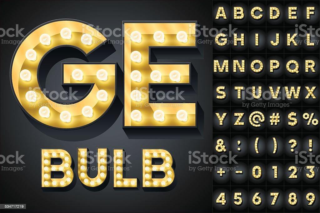 Realistic dark lamp alphabet for light board vector art illustration
