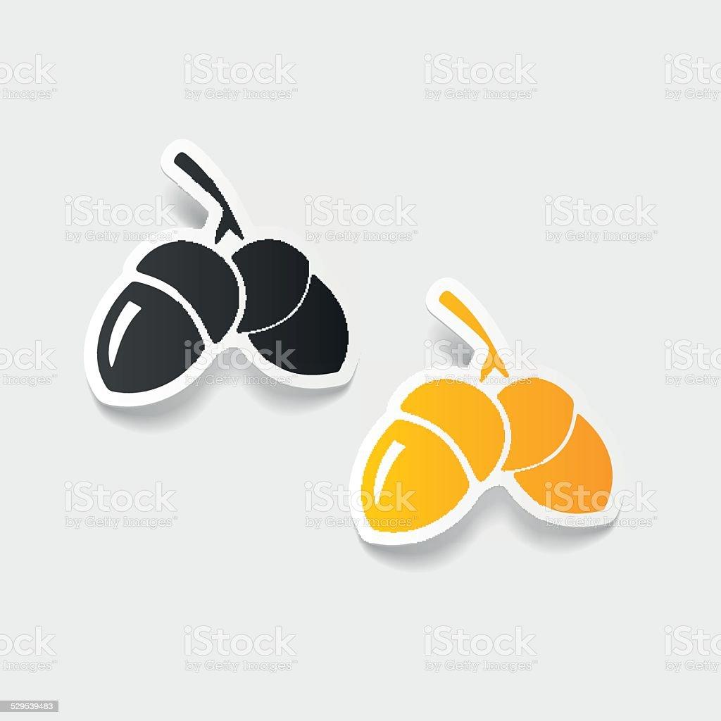 realistic design element: acorns vector art illustration