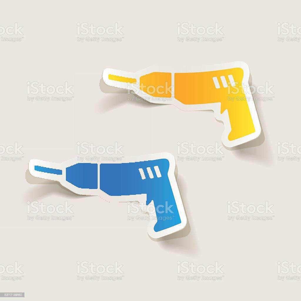 realistic design element: drill vector art illustration