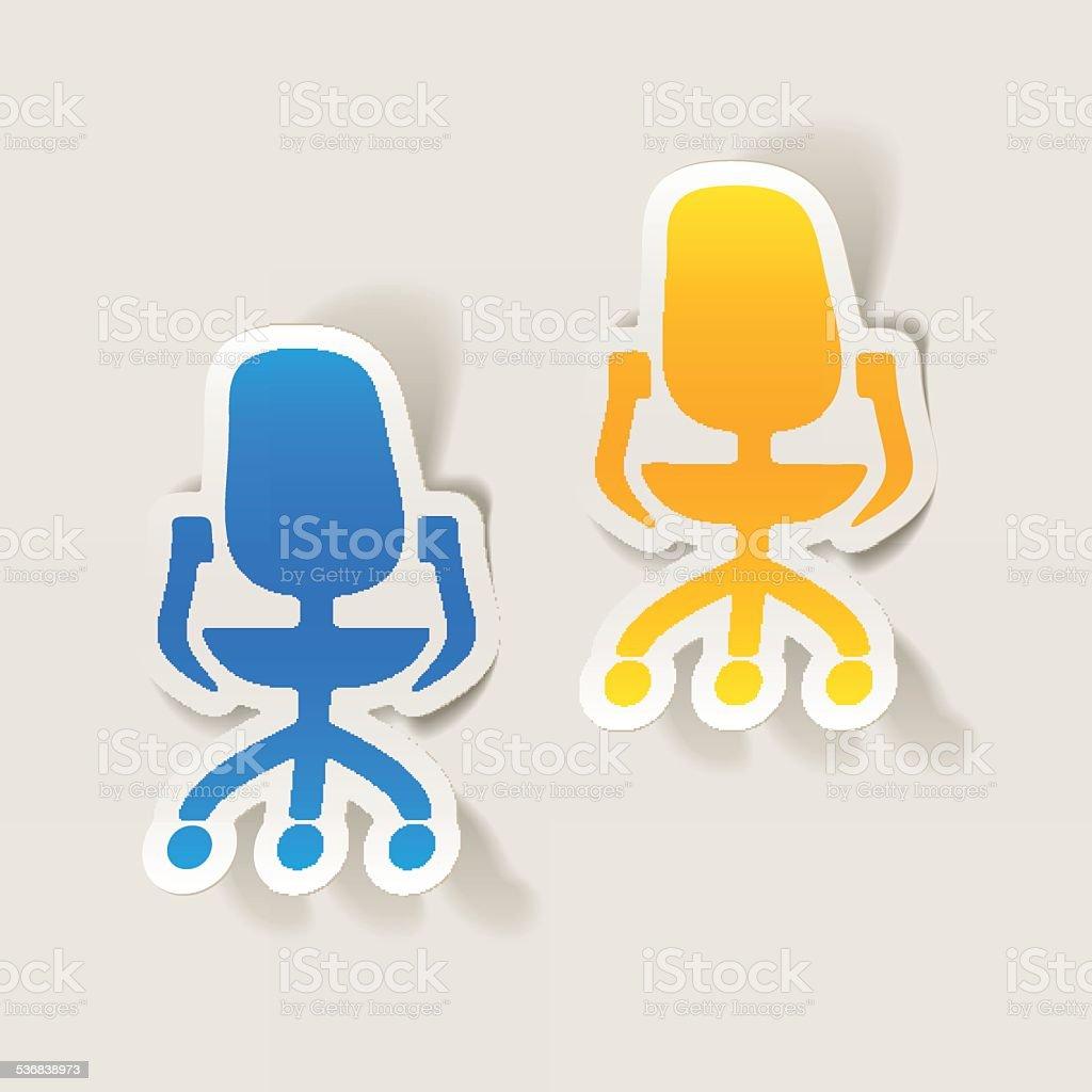 realistic design element: office chair vector art illustration
