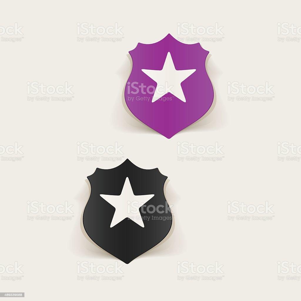 realistic design element. police badge vector art illustration