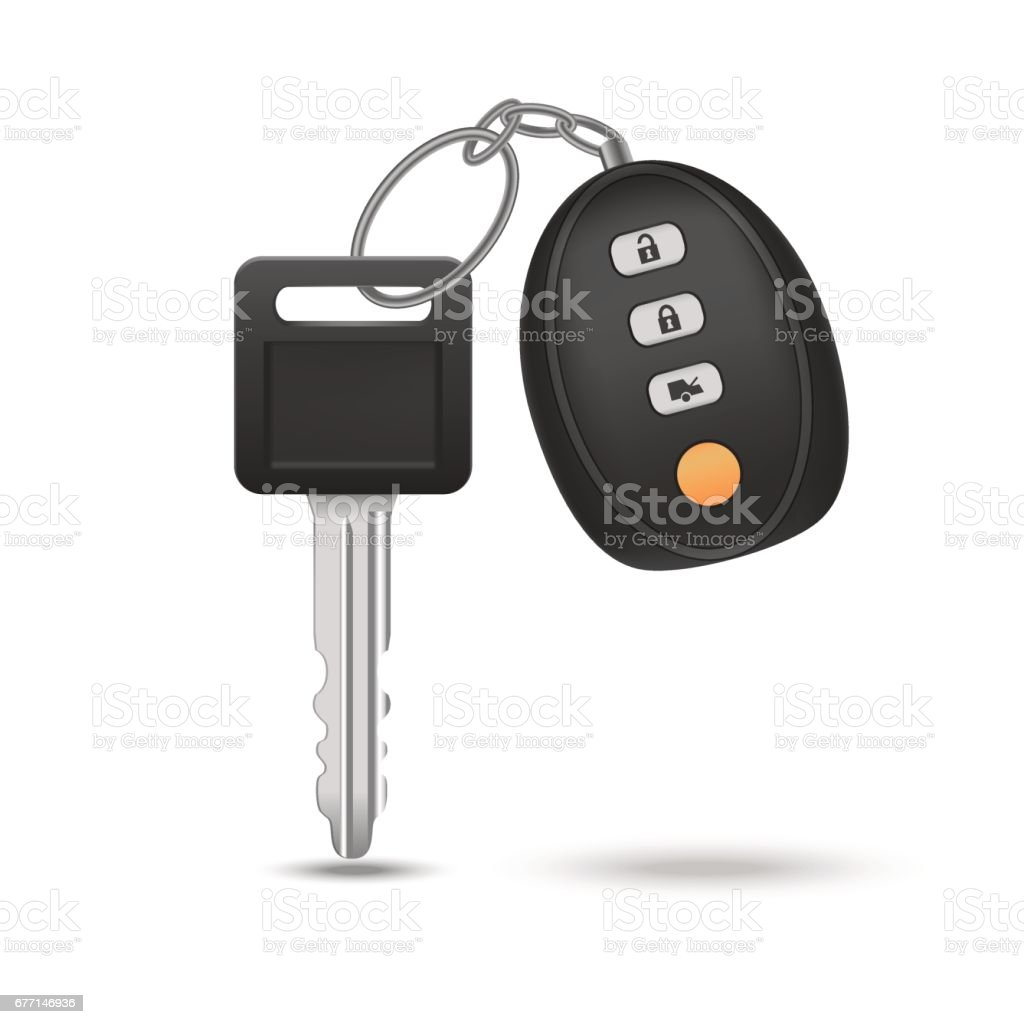 Realistic Detailed Auto Car Key with Remote Control. Vector vector art illustration