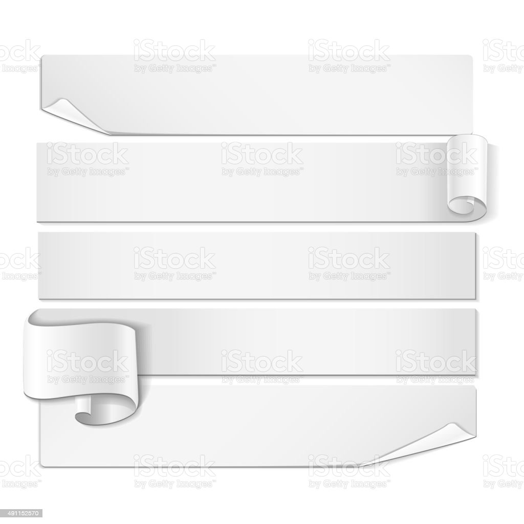 Realistic detailed curved white ribbon. vector art illustration