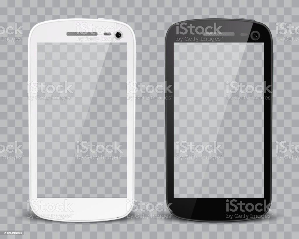 Realistic detailed smartphones vector art illustration