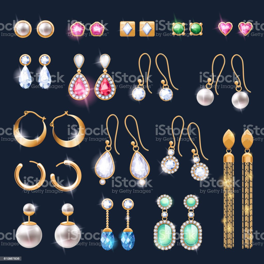 Realistic earrings jewelry accessories icons set. vector art illustration