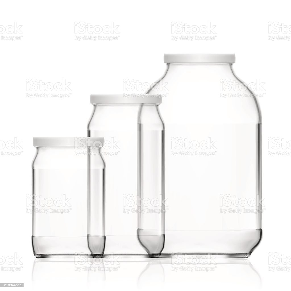 Realistic Empty 3L Glass Jar Set Isolated On White Background vector art illustration