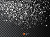 Realistic falling snowflakes. Isolated on transparent background. Vector illustration, eps