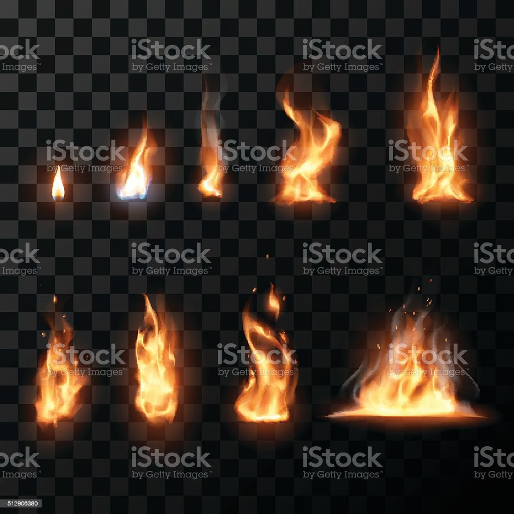 Realistic fire flames set vector art illustration