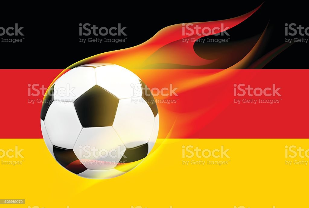 Realistic flying soccerball with hot flames on German flag background vector art illustration