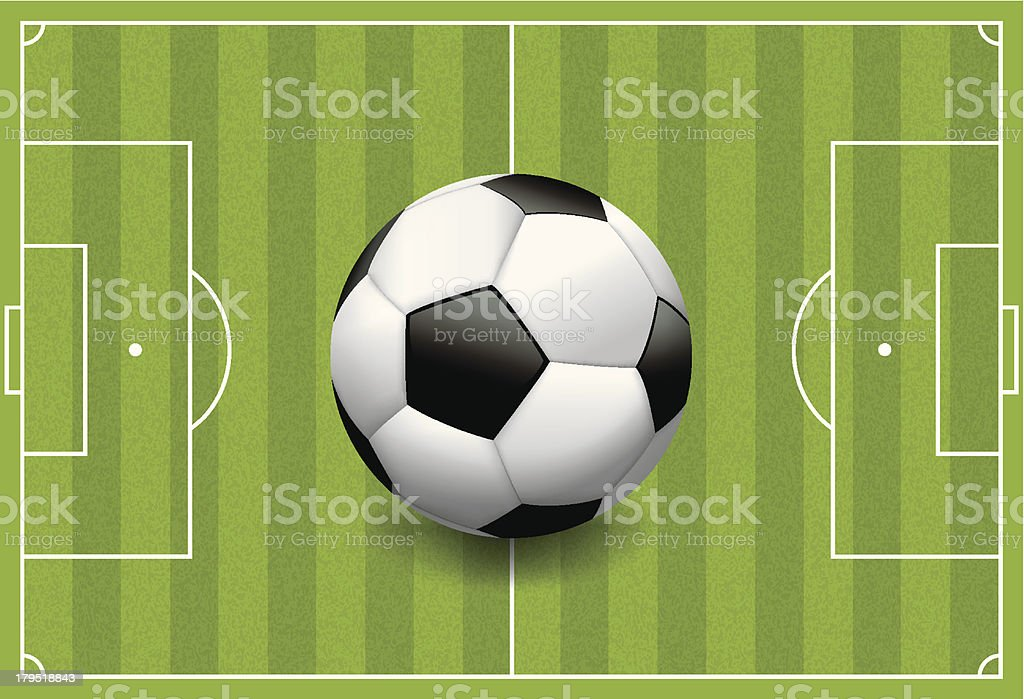 Realistic Football - Soccer Ball on Textured Field royalty-free stock vector art