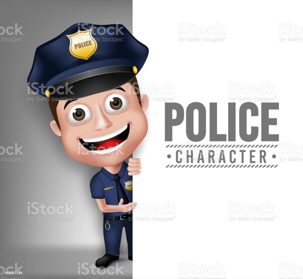3D Realistic Friendly Police Man Character Policeman vector art illustration