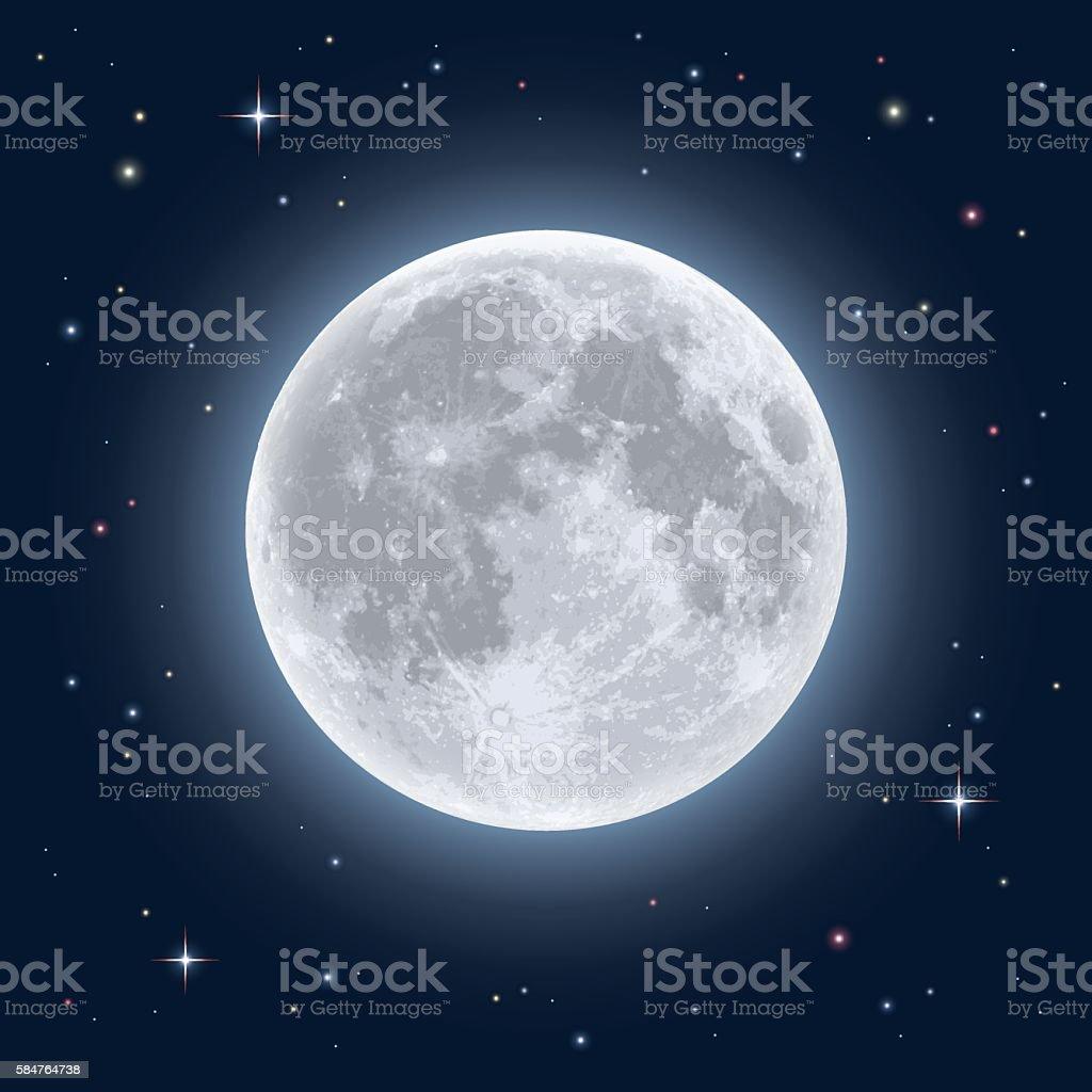 Realistic full moon vector art illustration