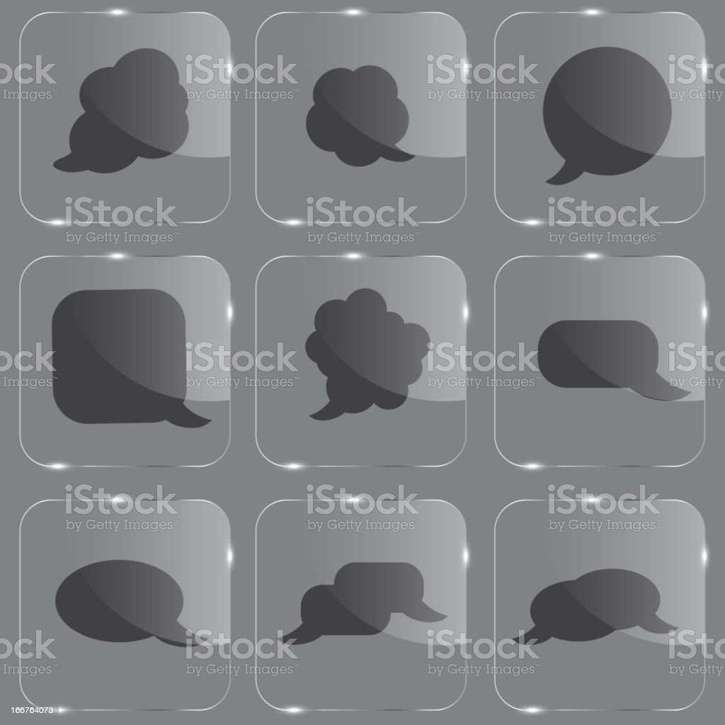 Realistic glass speech bubbles icons. royalty-free stock vector art