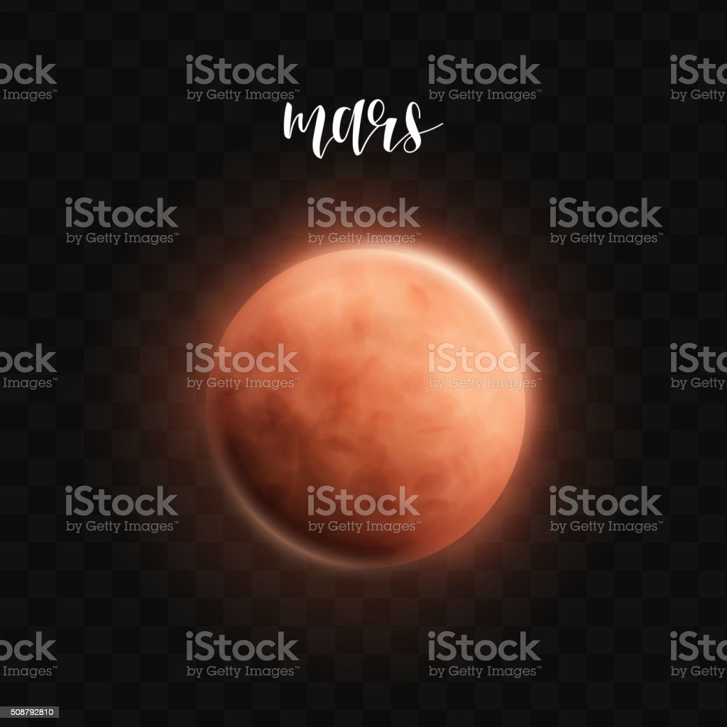 Realistic glowing Mars planet Isolated. Glow with transparency. Space vector art illustration