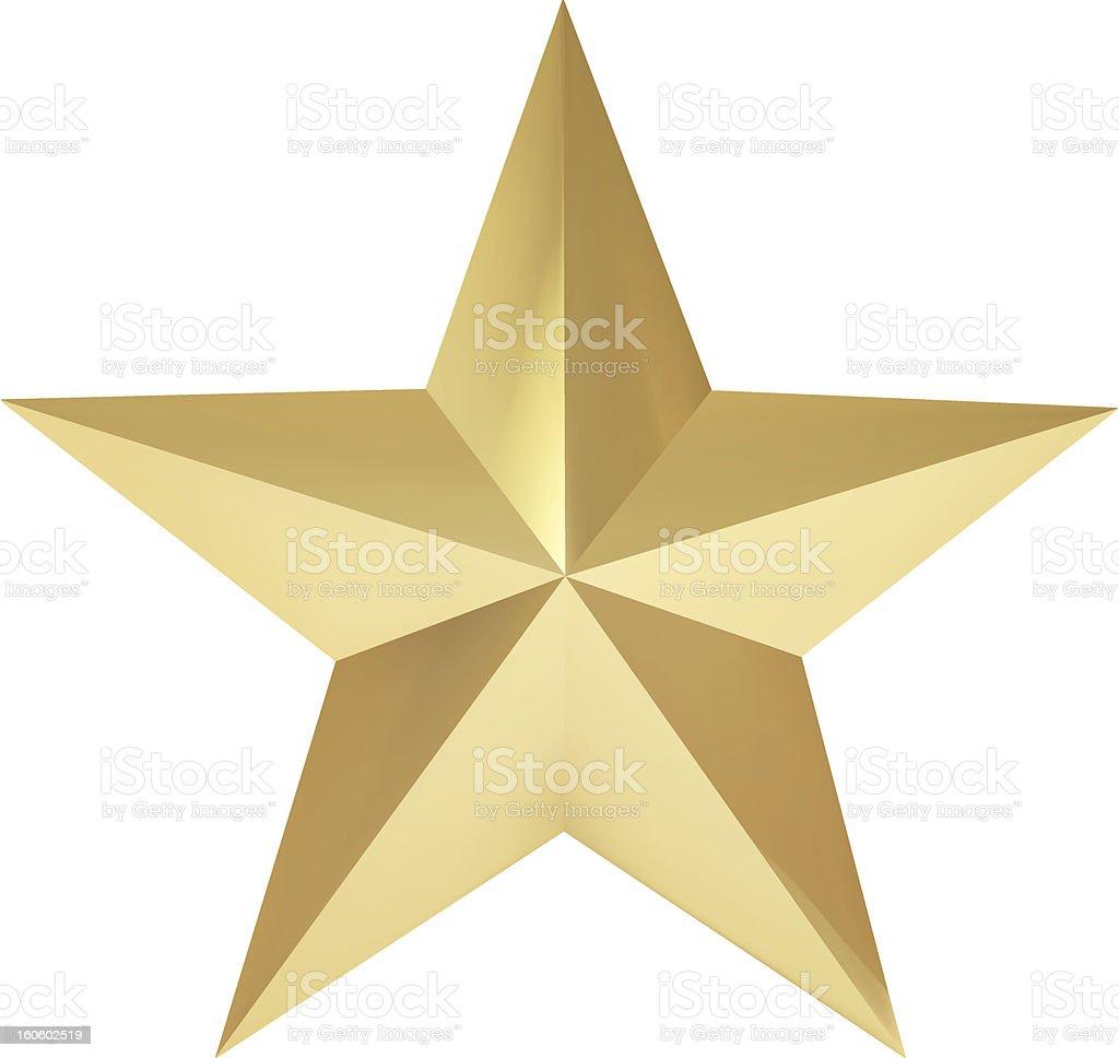 Realistic golden star vector art illustration