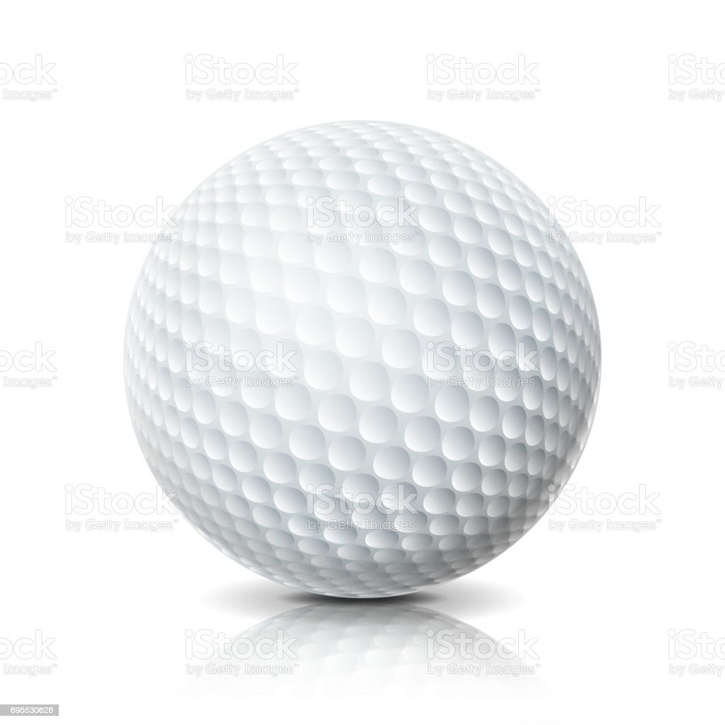 Realistic Golf Ball Isolated On White Background. Three-dimensional. Vector Illustration vector art illustration