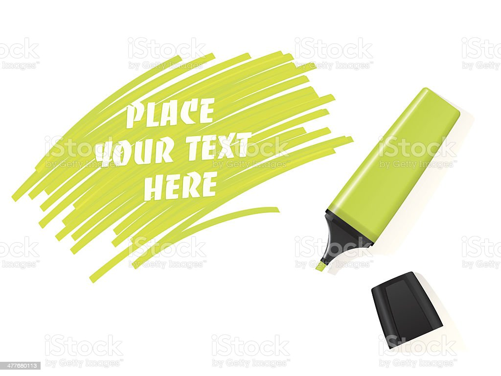 Realistic green marker vector with scribbled space for text royalty-free stock vector art