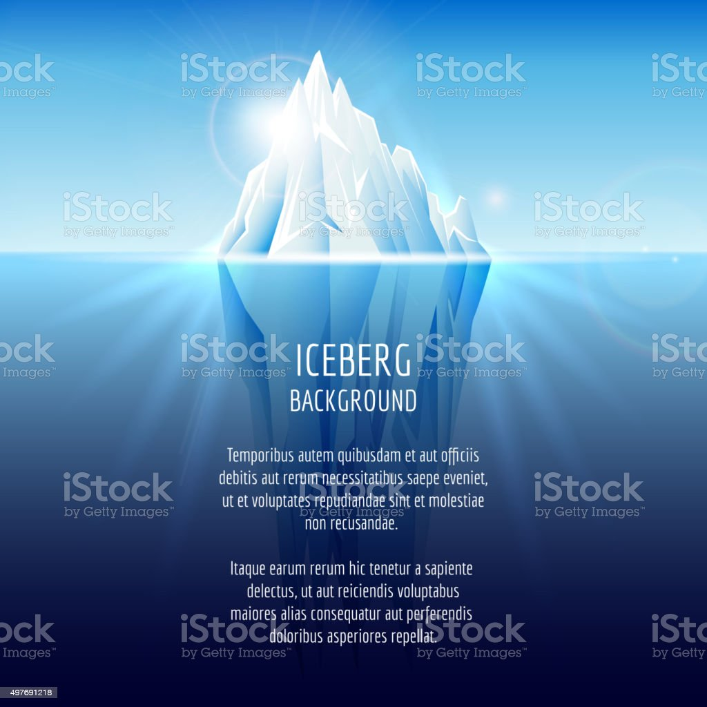 Realistic iceberg on water vector art illustration