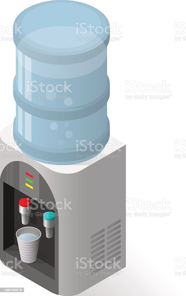 Realistic icon for water cooler with blue full bottle and vector art illustration
