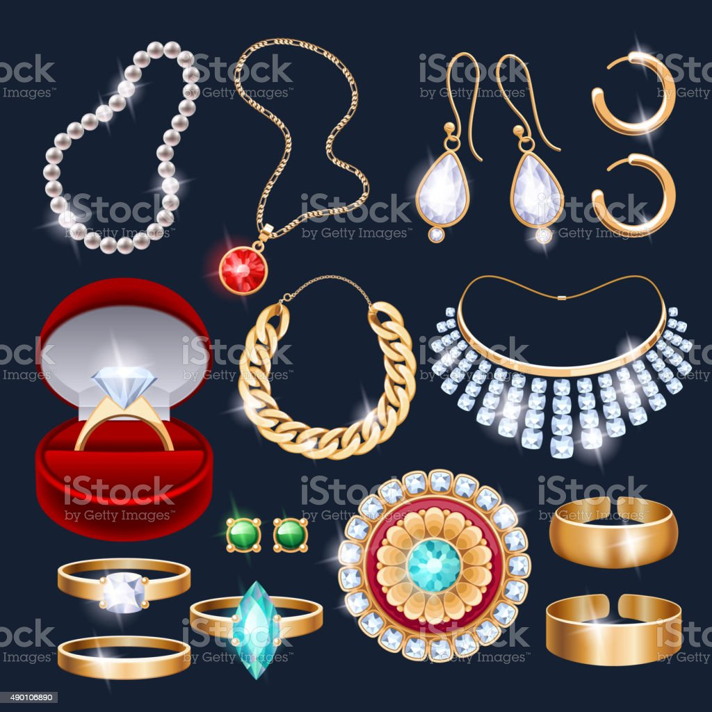 REalistic jewelry accessories icons set vector art illustration