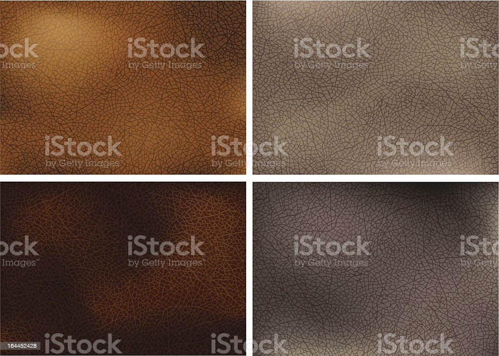 Realistic leather textures vector art illustration
