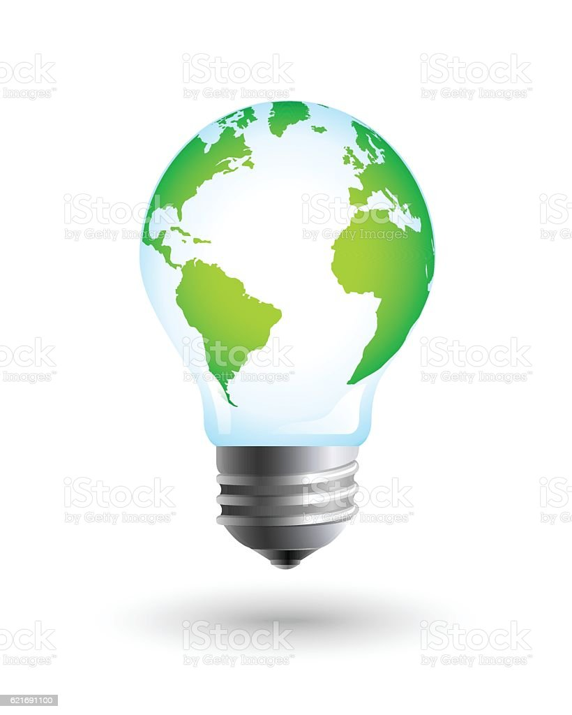 Realistic lightbulb with the Earth vector art illustration