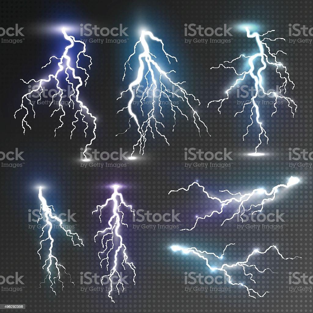 Realistic lightnings set vector art illustration